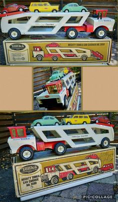 1973 Mighty TONKA Car Carrier #3990 with 3 cars and box, all original