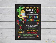 Mexican Fiesta 5x7 invitation and Circle variety pack - including cupcake toppers and Thank You Tag by KarinakdDesigns on Etsy