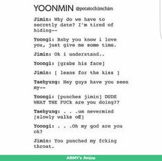 I can see this really happening <<<<I don't even ship yoonmin and this cracked me up lmao<<<<I can't relate to random citizen,YOONMIN IS LIFE! Yoonmin, Kookie Bts, Bts Bangtan Boy, K Pop, Bts Scenarios, Min Yoonji, Taehyung, Bts Memes Hilarious, Bts Imagine