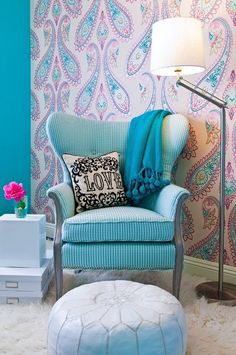 ❉ Interplay of traditional (wing-style chair, gingham fabric) and contemporary (shag rug, floor pouf)