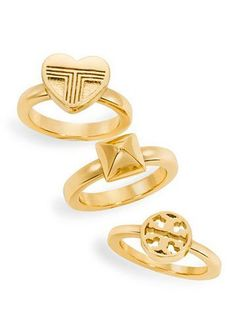 Style Guide: Tory Burch Private Sale - Up to off! Jewelry Accessories, Jewelry Design, Jewelry Rings, Gold Jewellery, Jewlery, Fine Jewelry, Gold Heart Ring, Tory Burch Sandals, Stackable Rings
