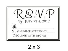 RSVP CUSTOM RUBBER STAMP for invitations that need a response. Create your own invitations and RSVP response cards with this stamp.    This stamp