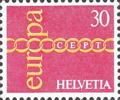 1971 Svizzera - Europa - (emissione CEPT soggetto comune) - Catena di cui un anello forma la O di Europa