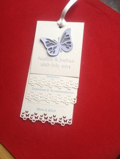 Beautiful butterfly waterfall wedding invitation handmade from The Favour Box