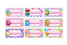 30 Personalized Printed Shopkins Back To School by susanefird