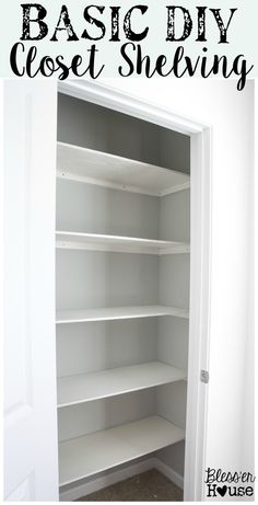 Basic DIY Closet Shelving Super awesome beginner home improvement project And gets rid of those crappy wire shelves Ew Home Improvement Contractors, Home Improvement Projects, Home Renovation, Home Remodeling, Bedroom Remodeling, Kitchen Remodeling, Kitchen Upgrades, Basement Renovations, Wood Closet Shelves