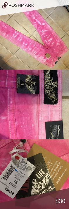 Soho babe pink tie dye stretch jeans NWT! Bubblegum pink & white skinny fit 4% spandex 96% cotton size 13 juniors. Really cute but too big for me! Soho Babe Jeans Skinny