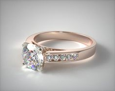 11140R14 | 14k White Gold 0.13ctw Channel Set Round Shaped Diamond Engagement Ring - Mobile