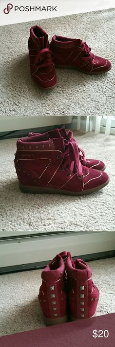 Skechers wedges Nice Burgundy Wedge Gym Shoes Worn 3x in very good condition Skechers Shoes Wedges