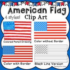 American Flag Clip Art for patriotic activities and 4th of July. All images are in PNG format with transparent backgrounds. 4 different styles. Download includes a ZIP file with the following images ★American Flag Image without Border (1941 × 1032 px) ★American Flag with Border (1947 × 1038 px) ★American Flag Black Line Image (1950 × 1039) ★American Flag Drawn with Colored Pencils (508 px X 394 px) ★ 1 Credits image