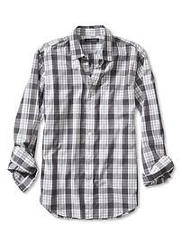 45 Slim-Fit Soft-Wash Gray Check Shirt