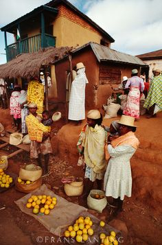 ~Market scene, Ambalamanarana, Central Madagascar~My brother, a French speaking Doctor, served the people there.