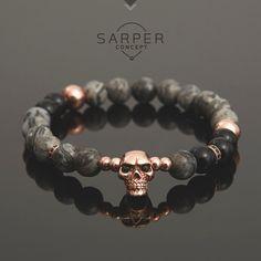 Bracelets for men, gemstone bracelet, mens beaded bracelet, jasper and onyx beaded with rosegold skull bracelet, gift, birthday gift, bangle