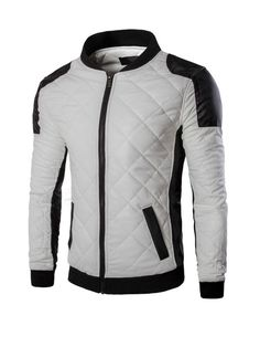 #AdoreWe #Fashionmia Fashionmia Men Modern Band Collar Quilted Plain Bomber Jacket - AdoreWe.com