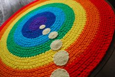 Rainbow handmade circle rug by irynabat25 on Etsy, $100.00