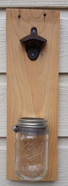 Making this pallet bottle opener with a jar is a drop in the bucket (or jar!).