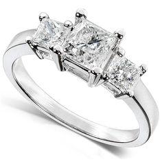 Three Stone Princess-cut Diamond Engagement Ring 1 3/8 Carat (ctw) in 14k White Gold