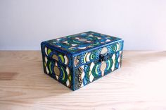 OOAK Hand painted wooden jewelry box Moctezuma, green, bronze, blue, point-to-point, gift