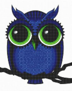 Cross Stitch Pattern Midnight Blue Owl with Big Eyes PDF