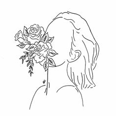 Ideas Flowers Drawing Pencil Beautiful For 2019 Line Drawing, Drawing Sketches, Painting & Drawing, Tumblr Art Drawings, Small Drawings, Minimalist Drawing, Minimalist Art, Character Design Cartoon, Art Plastique
