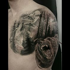 #realistic #nature #freedom #wolf #bear #tree #forest #clouds #moon #popular #chest #piece #tattoo