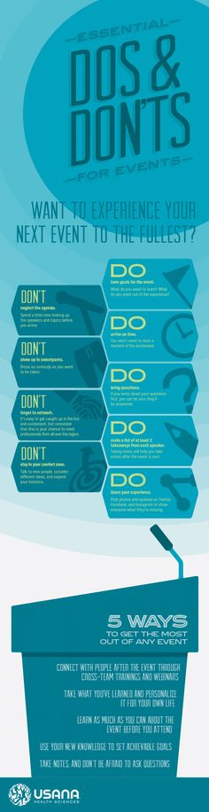 Infographic Vertical - Business Events USANA The Do and Donts while attending a learning seminar or conference.