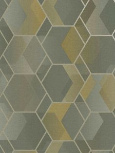 This stylish Asik Geometric wallpaper will make a great statement in most rooms of your home. The paper has a geometric themed design of overlapping hexagons and parallelograms in soft tones of grey and yellow, with a metallic silver outline. There is a subtle mottled pattern running through it which gives a textured fabric effect although the paper has a smooth matte finish. This high quality wallpaper would look great as a feature wall or equally good when used to decorate a whole room. Pastel Colors, Bold Colors, Colours, Silver Highlights, Seamless Textures, Geometric Wallpaper, High Quality Wallpapers, Hexagons, Grey Yellow