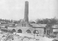 """View of the former Mt. Auburn Cable power house located at Highland & Dorchester when in operation. The Mt. Auburn cable car line began operating in 1886 and closed on June 9, 1902."""