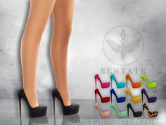 A super high heel with concealed platform and stiletto heel. Comes in 12 colours.  Found in TSR Category \'Sims 4 Shoes Female\'