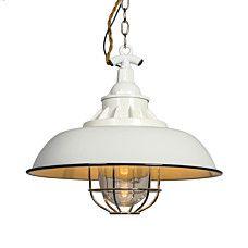 Hanglamp Strijp S wit - Stoere hanglamp met een industriële uitstraling door onder andere het kleine glas met het metalen verchroomde rooster dat als bescherming dient voor de lichtbron. Details als het geëmailleerd metaal en een gedraaide stoffen kabel geven deze lamp een nostalgische 'look'. http://www.lampenlicht.be/hanglamp-strijp-s-wit.html_be