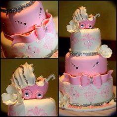 Couldn't resist sharing this glitzy and glamorous Baby Shower Cake! Yes, we mainly focus on weddings and such but hey babies come after . Baby Shower Cakes, Baby Shower Parties, Baby Shower Themes, Baby Shower Decorations, Baby Shower Gifts, Shower Ideas, Baby Party, Bebe Shower, Girl Shower