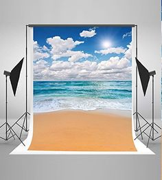 5x7ft Sea and Beach Backgrounds Blue Sky White Cloud Photo Backdrops Nature Scenery Photography Backdrop