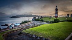 Moody view of Plymouth Hoe, Drakes's Island and Mount Edgecombe