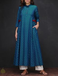 Blue White Ikat Mandarin Collar Handloom Cotton Kurta Women Kurtas The Fall Edit Handwoven and solid dresses jackets pants Kurta Designs Women, Salwar Designs, Blouse Designs, Pakistani Dresses, Indian Dresses, Indian Outfits, Kurta Patterns, Dress Patterns, Indian Attire