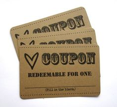 1 Dozen LOVE COUPONS!  Perfect birthday, anniversary, anytime gift for your boyfriend or husband. HE'LL LOVE IT!!!