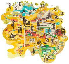 Varios mapas ilustrados