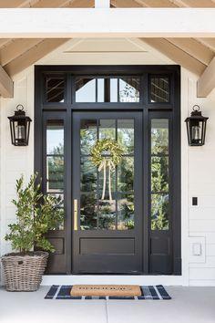Unique Front Doors, Double Front Entry Doors, Front Door Entryway, Beautiful Front Doors, Front Door Makeover, House Front Door, Front Door Colors, Glass Front Door, Entrance Doors