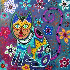Talavera Painting - Talavera Cat IIi by Pristine Cartera Turkus
