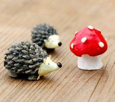 3 Pieces Hedgehog Mushroom Miniatures