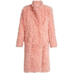 Preen By Thornton Bregazzi Candy curly-shearling coat found on Polyvore featuring outerwear, coats, jackets, coats & jackets, light pink, sheep fur coat, pink coat, calf length coat, fuzzy coat and light pink coat