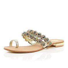 Gold gemstone embellished toe sandal / river Island
