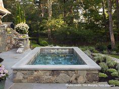 Soake Pool with luxury landscaping. Hot Tub Backyard, Backyard Pool Landscaping, Small Backyard Pools, Luxury Landscaping, Swimming Pools Backyard, Garden Pool, Lap Pools, Indoor Pools, Pool Decks