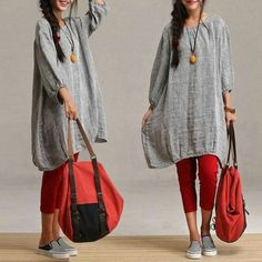Sleeve casual gray linen gown models / loose round by dreamyil. Look Fashion, Indian Fashion, Womens Fashion, Fashion Trends, Hijab Fashion, Mode Style, Style Me, Estilo Hippie, Mode Hijab