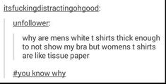 This is why I don't buy women's clothing a majority of the time, and people just don't understand!!!!!!!!