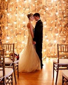 Hanging wedding lights