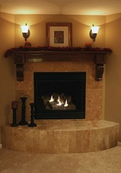 Luxury decorated corner electric fireplace tile massive mantel wall sconces