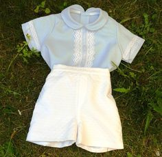 Baby boy suit blue shirt white trousers 6 months by pitufos