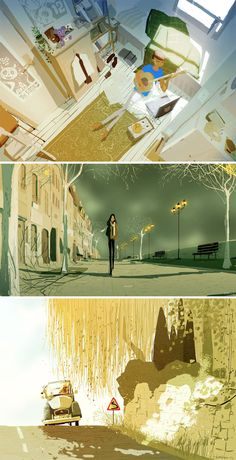 I like the use of colour within these illustrations http://theconceptartblog.com/wp-content/uploads/2012/09/pascal-campion-03.jpg