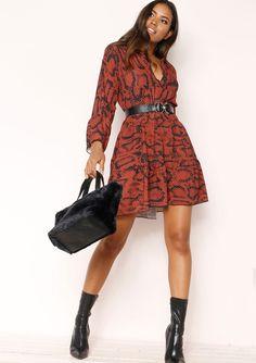 995e20ae2e2fcf Missyempire - Clare Rust Snake Print Smock Dress Snake Print Dress, Animal  Print Fashion,
