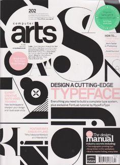 Portada de la revista Computer Arts Magazine (July 2012) de Library User Group/ A pesar de tanta tipografía de tantas familias, se nota un orden de composición en los títulos.